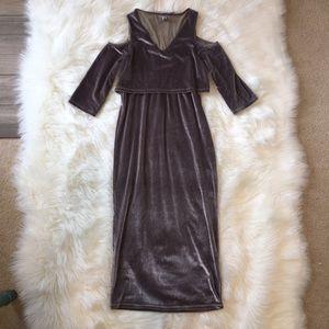 ASOS Dress Velvet Mid Length Cold Shoulder V Neck
